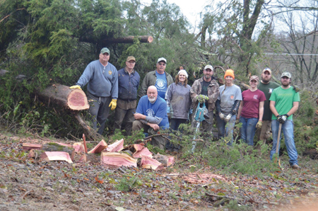 The CSCC Wildlife Society was one of the groups from CSCC that assisted in clearing of trees and other debris after the recent tornado devastation in McMinn and Polk counties.